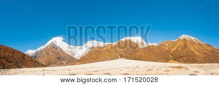 Langtang Mountain Range Panorama Lirung Peak