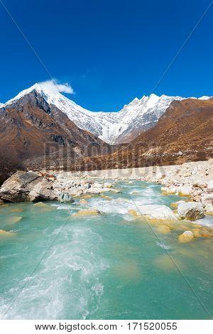 Langtang Lirung Peak Himalayas Flowing River V