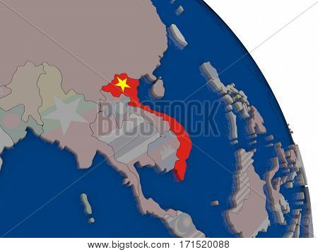 Vietnam With Flag On Globe