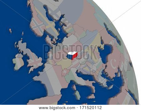 Czech Republic With Flag On Globe