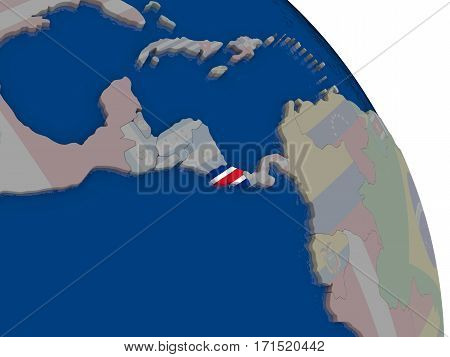 Costa Rica With Flag On Globe