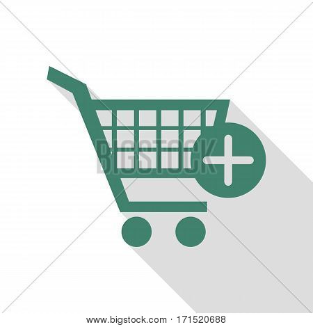 Shopping Cart with add Mark sign. Veridian icon with flat style shadow path.