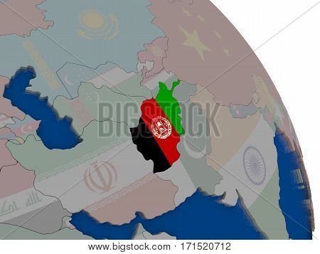 Afghanistan With Flag On Globe