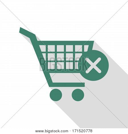 Shopping Cart with delete sign. Veridian icon with flat style shadow path.