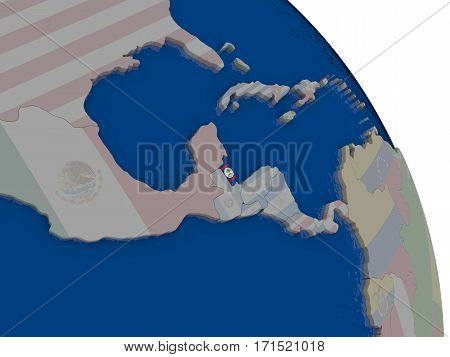 Belize With Flag On Globe