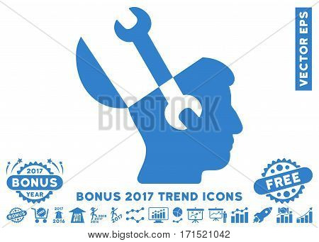 Cobalt Mind Wrench Tools pictograph with bonus 2017 year trend images. Vector illustration style is flat iconic symbols white background.