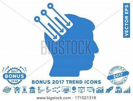 Cobalt Neuro Interface icon with bonus 2017 year trend pictograph collection. Vector illustration style is flat iconic symbols white background.