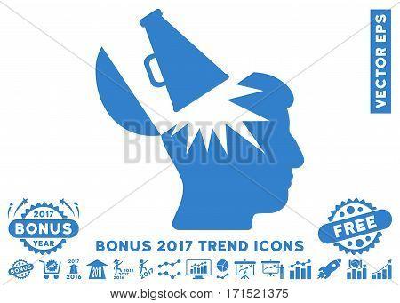 Cobalt Open Brain Megaphone pictogram with bonus 2017 year trend clip art. Vector illustration style is flat iconic symbols white background.