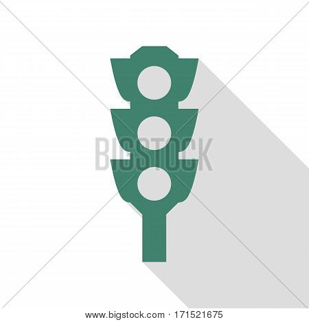 Traffic light sign. Veridian icon with flat style shadow path.