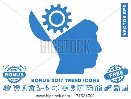 Cobalt Open Head Gear icon with bonus 2017 trend icon set. Vector illustration style is flat iconic symbols white background.
