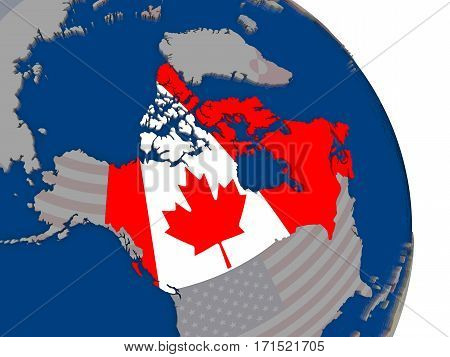 Canada With Flag On Globe