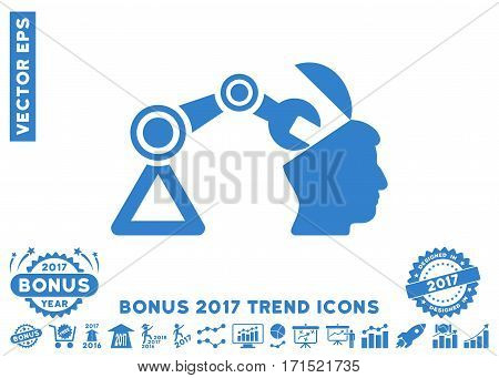 Cobalt Open Head Surgery Manipulator pictogram with bonus 2017 year trend pictures. Vector illustration style is flat iconic symbols white background.