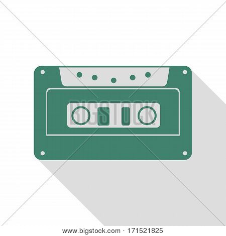 Cassette icon, audio tape sign. Veridian icon with flat style shadow path.