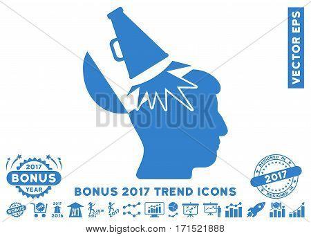 Cobalt Open Mind Megaphone icon with bonus 2017 year trend pictograms. Vector illustration style is flat iconic symbols white background.