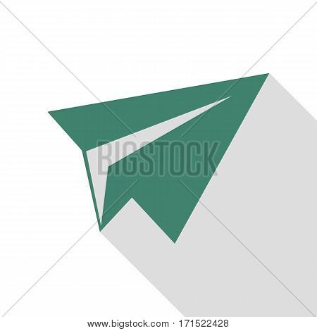 Paper airplane sign. Veridian icon with flat style shadow path.