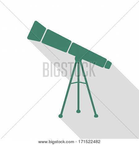 Telescope simple sign. Veridian icon with flat style shadow path.