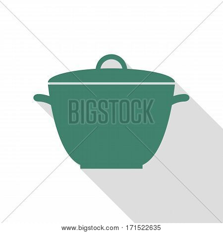 Saucepan simple sign. Veridian icon with flat style shadow path.