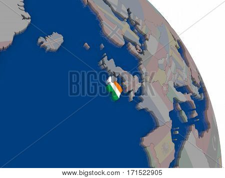 Ireland With Flag On Globe