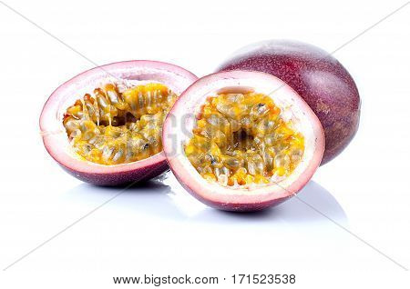Passion Fruits Isolated On White Background.