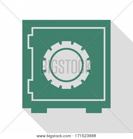 Safe sign illustration. Veridian icon with flat style shadow path.