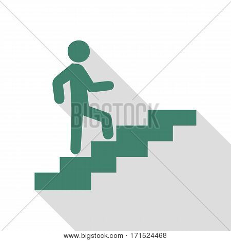 Man on Stairs going up. Veridian icon with flat style shadow path.