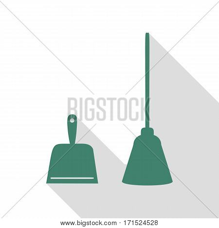 Dustpan vector sign. Scoop for cleaning garbage housework dustpan equipment. Veridian icon with flat style shadow path.