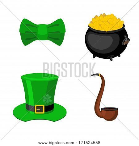 St. Patrick's Day Icon Set. Leprechaun Accessory. Pot Of Gold And Smoking Pipes. Green Bow Tie. Nati