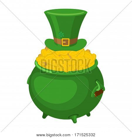 St. Patrick's Day. Leprechaun Green Hat And Pot Of Gold. Magic Dwarf And Boiler Of Golden Coins. Nat