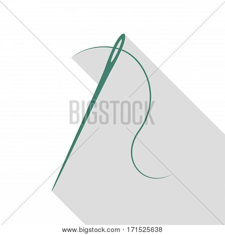 Needle with thread. Sewing needle, needle for sewing. Veridian icon with flat style shadow path.