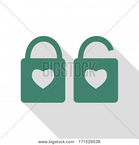 lock sign with heart shape. A simple silhouette of the lock. Shape of a heart. Veridian icon with flat style shadow path.
