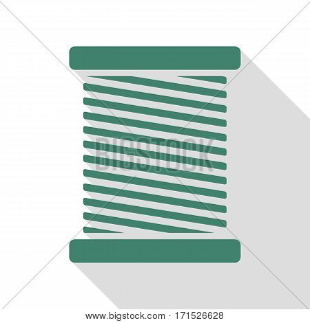 Thread sign illustration. Veridian icon with flat style shadow path.