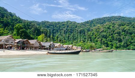 fishing village at Moo Koh Surin .