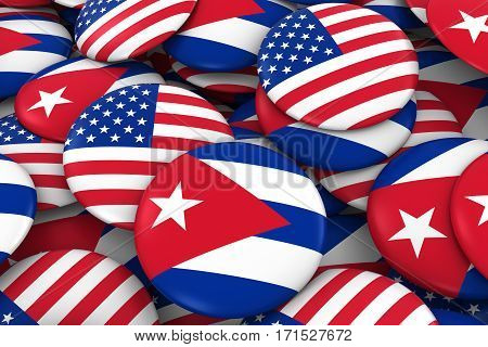 Usa And Cuba Badges Background - Pile Of American And Cuban Flag Buttons 3D Illustration