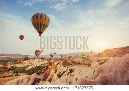 Turkey Cappadocia beautiful balloons flight stone landscape amazing
