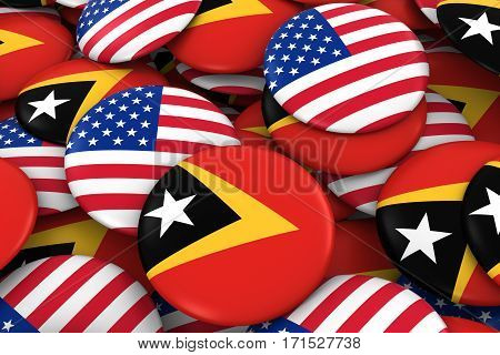 Usa And East Timor Badges Background - Pile Of American And Timorese Flag Buttons 3D Illustration