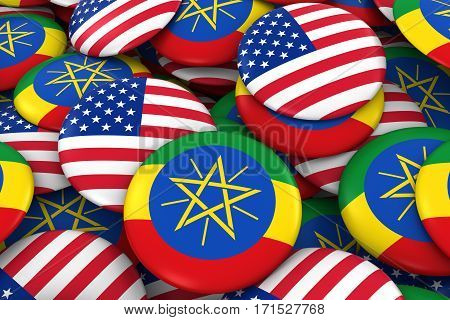 Usa And Ethiopia Badges Background - Pile Of American And Ethiopian Flag Buttons 3D Illustration