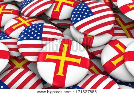 Usa And Guernsey Badges Background - Pile Of American And Channel Island Flag Buttons 3D Illustratio