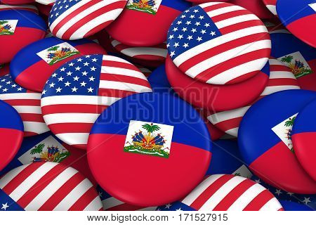 Usa And Haiti Badges Background - Pile Of American And Haitian Flag Buttons 3D Illustration