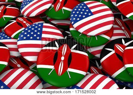 Usa And Kenya Badges Background - Pile Of American And Kenyan Flag Buttons 3D Illustration