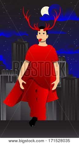 Vector illustrated cartoon superhero standing on a rooftop in the city at night.