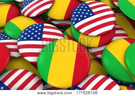 Usa And Mali Badges Background - Pile Of American And Malian Flag Buttons 3D Illustration