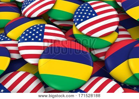 Usa And Mauritius Badges Background - Pile Of American And Mauritian Flag Buttons 3D Illustration