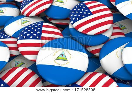 Usa And Nicaragua Badges Background - Pile Of American And Nicaraguan Flag Buttons 3D Illustration