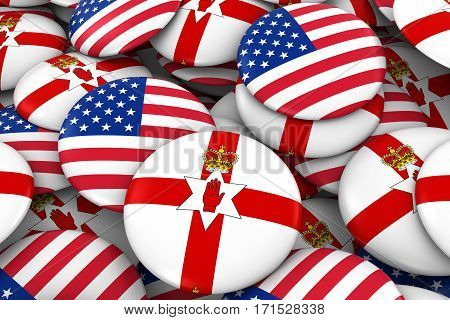 Usa And Northern Ireland Badges Background - Pile Of American And Northern Irish Ulster Flag Buttons