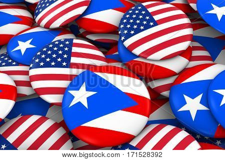 Usa And Puerto Rico Badges Background - Pile Of American And Puerto Rican Flag Buttons 3D Illustrati