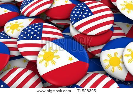 Usa And Philippines Badges Background - Pile Of American And Filipino Flag Buttons 3D Illustration