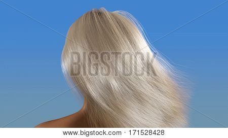 blond hair waving in the wind, 3d illustration