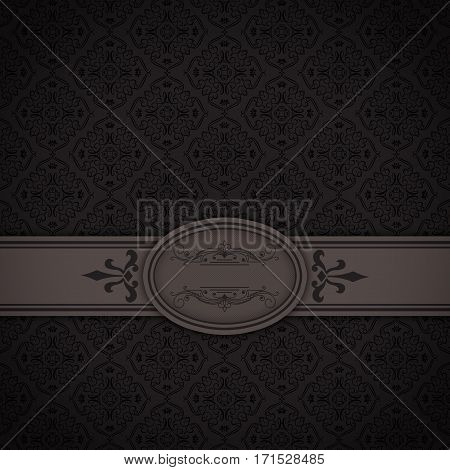 Dark vintage background with decorative borderframe and old-fashioned patterns.
