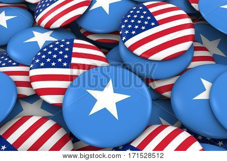 Usa And Somalia Badges Background - Pile Of American And Somali Flag Buttons 3D Illustration