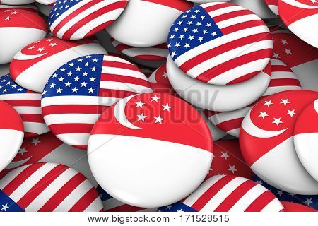 Usa And Singapore Badges Background - Pile Of American And Singaporean Flag Buttons 3D Illustration